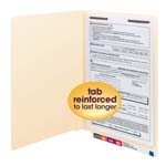 Smead End Tab Fastener File Folder 37110, Shelf-Master® Reinforced Straight-Cut Tab, 1 Fastener, Legal, Manila