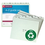 Smead Pressboard Guides 50376, Plain 1/5 Cut-Tab (A-Z), Set of 25, Letter, Gopher Green
