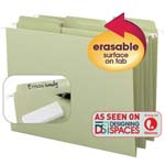 Smead Erasable FasTab® Hanging Folder 64032, 1/3-Cut Built-In Tab, Letter, Moss