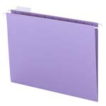 Smead Hanging File Folder with Tab 64064, 1/5-Cut Adjustable Tab, Letter, Lavender