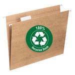 Smead 100% Recycled Hanging File Folder with Tab 65000, 1/5-Cut Adjustable Tab, Letter, Tan