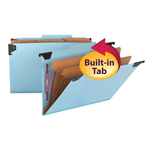 Smead  FasTab® Hanging Pressboard Classification Folder with SafeSHIELD® Fastener, 2 Dividers, 2/5-Cut Built-in Tab, Legal, Blue (65165)