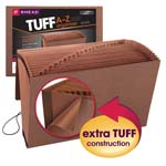 Smead TUFF® Expanding File 70320, Alphabetic (A-Z), 21 Pockets, Flap and Elastic Cord Closure, Legal, Redrope-Printed Stock