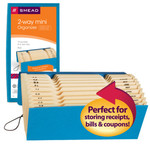 Smead 2-Way Mini Organizer 70636, Alphabetic (A-Z) and Monthly (Jan.-Dec.), 12 Pockets, Flap and Cord Closure, 9-3/4