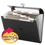 Smead Step Index Poly Organizer 70901, 12 Pockets (Each Holds up to 50 Sheets), Flap and Cord Closure, Letter, Black