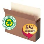 Smead 100% Recycled File Pocket 73206, Straight-Cut Tab, 5-1/4