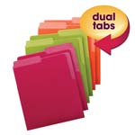 Smead Organized Up™ Heavyweight Vertical File Folders 75406, Dual Tabs, Letter, Bright Tones