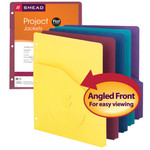 Smead Project Jackets 75452, 2/5-Cut Tab, Bottom Position, Three-Hole Punched, Letter, Assorted Colors