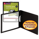 Smead Frame View Poly Report Cover with Swing Clip 86040, Side Fastener, Up to 30 Sheets, Letter (Landscape Orientation), Black/Clear Front