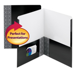 Smead Professional Series Two Pocket File Folder 87937, Up to 100 Sheets, Letter, Black,