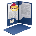 Smead Lockit® Two-Pocket File Folder 87968, Up to 50 Sheets, Legal, Blue