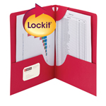 Smead Lockit® Two-Pocket File Folder 87980, Up to 50 Sheets, Letter, Red