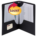 Smead Lockit® Two-Pocket File Folder 87981, Up to 50 Sheets, Letter, Black