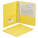 Smead Two-Pocket Heavyweight Folder 88062, Tang Strip Style Fastener, Fastener-Up to 80 Sheets/Pockets-Up to 100 Sheets, Letter, Yellow