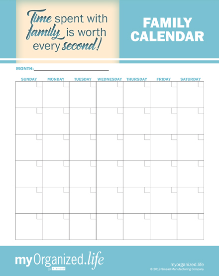 Printable Family Calendar- Keep your family organized!