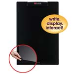 "16"" x 24""  Frameless Mini Dry-Erase Board with Clear Overlay Black"