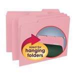 Smead Interior File Folder 10263, 1/3-Cut Tab, Letter, Pink