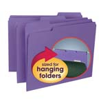 Smead Interior File Folder 10283, 1/3-Cut Tab, Letter, Purple