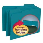 Smead Interior File Folder 10291, 1/3-Cut Tab, Letter, Teal