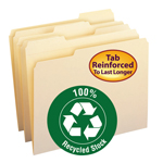 Smead 100% Recycled File Folder 10347, Reinforced 1/3-Cut Tab, Letter, Manila