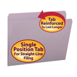 Smead File Folder 12410, Reinforced Straight-Cut Tab, Letter, Lavender