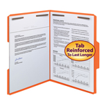 Smead Fastener File Folder 12540, 2 Fasteners, Reinforced 1/3-Cut Tab, Letter, Orange