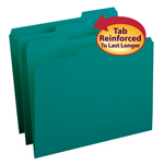 Smead File Folder 13134, Reinforced 1/3-Cut Tab, Letter, Teal