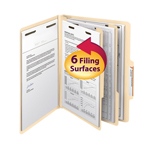 Smead Classification File Folder 14000, Reinforced 2/5-Cut Tab, 2 Dividers, 2
