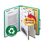 Smead 100% Recycled Pressboard Classification Folder 14063, 2 Dividers, 2