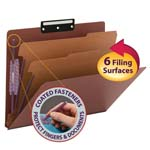 Smead Pressboard Classification File Folder with SafeSHIELD® Fasteners 14230, 2 Dividers, 2