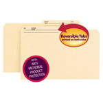 Smead Reversible File Folder with Antimicrobial Product Protection 15377, 1/2-Cut Printed Tab, Legal, Manila