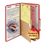 Smead Pressboard Classification File Folder with Pocket Divider and SafeSHIELD® Fasteners 19082, 2 Dividers, 2
