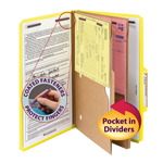 Smead Pressboard Classification File Folder with Pocket Divider and SafeSHIELD® Fasteners 19084, 2 Dividers, 2