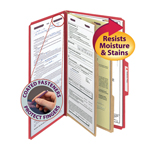 Smead PressGuard® Classification File Folder with SafeSHIELD® Fasteners 19202, 2 Dividers, Legal, Bright Red