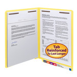 Smead End Tab Fastener File Folder 25940, Shelf-Master® Reinforced Straight-Cut Tab, 2 Fasteners, Letter, Yellow