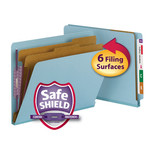 Smead End Tab Pressboard Classification Folder with SafeSHIELD® Fasteners 26781, 2 Dividers, 2