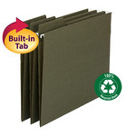 Smead 100% Recycled FasTab® Hanging Folder 64038, 1/3-Cut Built-In Tab, Letter, Standard Green