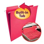 Smead FasTab® Hanging Folder 64096, 1/3-Cut Built-In Tab, Letter, Red