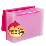 Smead Poly Expanding File, 12 Dviders, Flap and Cord Closure, Letter Size, Wave Pattern Pink/Clear (70864)