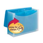 Smead Poly Expanding File, 12 Dviders, Flap and Cord Closure, Letter Size, Wave Pattern Teal/Clear (70869)