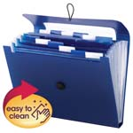 Smead Step Index Poly Organizer 70902, 12 Pockets (Each Holds up to 50 Sheets), Flap and Cord Closure, Letter, Navy Blue