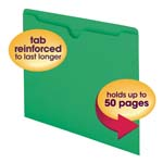 Smead File Jacket 75503, Reinforced Straight-Cut Tab, Flat-No Expansion, Letter, Green