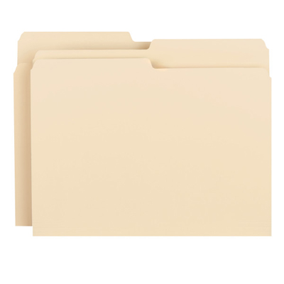 UNIVERSAL File Folders 1//3 Cut Second Position One-Ply Top Tab Letter Manila 100