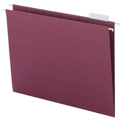 letter size 25 Maroon C15H-MR box qty Smead hanging file folders 1//5 cut tab