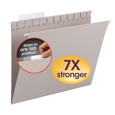 Smead Tuff Hanging Folder with Easy Slide Tab Letter Steel Gray 18//Pack 64092