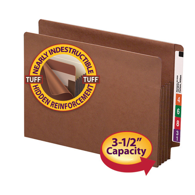 Reinforced Straight-Cut Tab 74790 Redrope Reinforced Gusset 5-1//4 Expansion Smead End Tab TUFF File Pocket 10 per Box Extra Wide Legal Size