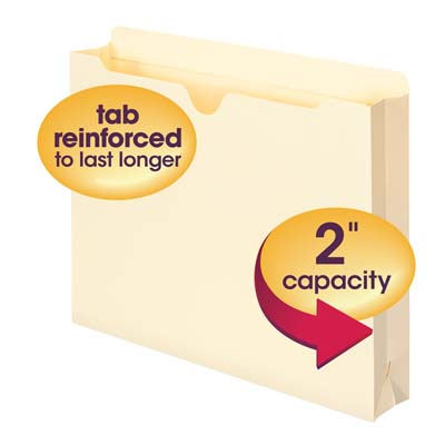 Reinforced Straight-Cut Tab Smead File Jacket Letter Size 50 per Box 1 Expansion Manila 75520